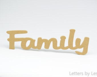 Wooden Family Wall Sign. Family Wall Hanging. Wood Family Wall Decal. Family Word Art