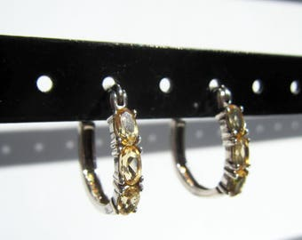 Sterling Silver and Yellow Citrine or Topaz Latch Back Earrings   2554J