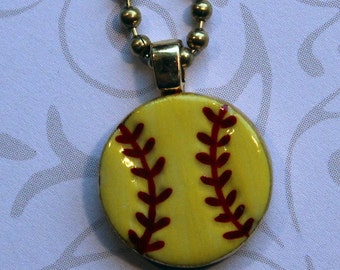 "Softball Pendant with 24"" Brass Chain Handmade Porcelain Jewelry"