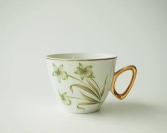 Single Japanese White China Vintage Tea Cup
