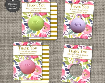 Printed Baby or Bridal Shower Floral Watercolor Party Favors for EOS lip balm | Thank You | Floral eos tags | 12 Favor Tags | No. P-FLR-EOS
