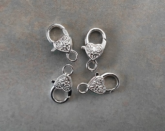 5 Heart Lobster Clasps Silver Plated Lobster Clasps 25mm x 13mm Hole: 4.2mm
