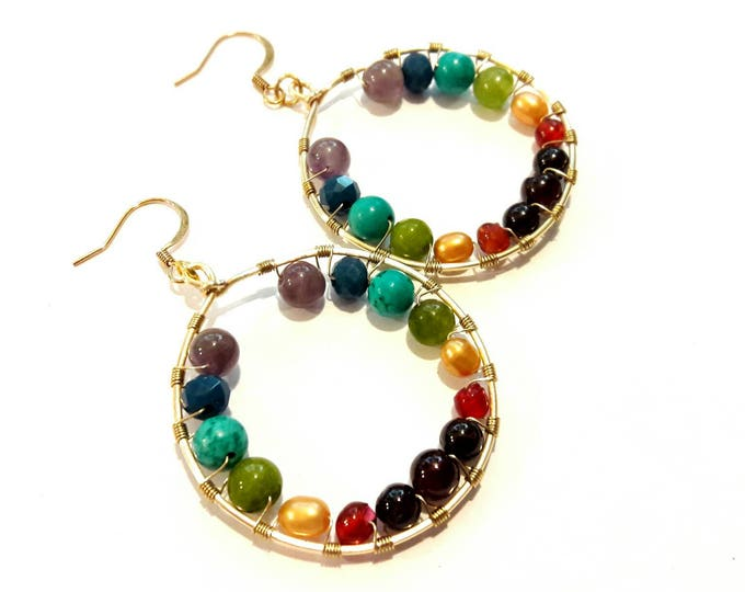Colorful Gemstone Hoops in Chakra Colors -- Rainbow Hoop Earrings -- Yoga Earrings -- Spiritual Boho Hoops, Gypsy Style Earrings