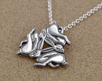Chasing Hares Pendant - Three Hares - Tinner's Rabbits - Easter