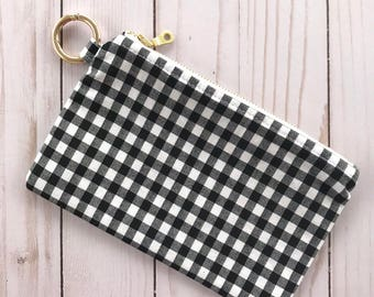 Gingham Ring Clip Pouch
