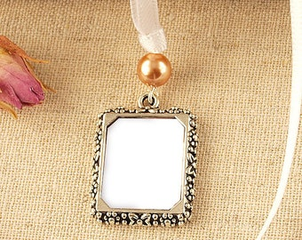 Pearl Wedding Bouquet Photo Frame Charm | Bridal Photo Frame Charm | Memorial Photo Frame Charm | Picture Frame Wedding Charm | Remembrance