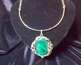 Designer brass necklace with malachite