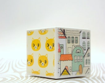 Cat and Houses Piggy Bank, Whimsical Kids Bank, Money Box, Cash Box, Cats, House, Adorable Kids Room Decor, Modern Baby, Wood Bank, Unique