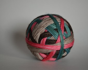 "Dyed to Order: ""Dobby's a Free Elf (4 color self-striping)"" -  Watery Green-Blue, Pink, Brown, Light Tan Stripes"