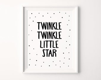 "Nursery Art Printable ""Twinkle Twinkle Little Star"", Children's Lullaby Poem, Printable Nursery Art Decor, Instant Download *DIY PRINT*"