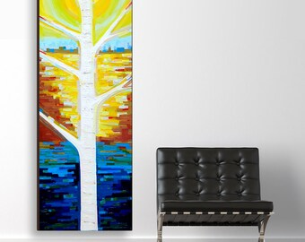 Sunlit Birch no. 2 (20x60) original painting on canvas by Kristi Taylor