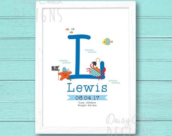 Personalised Print - Initial - Letter Print - Newborn - First birthday - Ocean - Seaside - Gift - A4 print