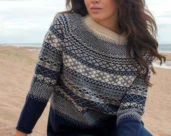 """Blue, Pink, Grey or Teal Ladies fair isle """"lace"""" tunic jumper sweater pullover. navy, gray, fairisle"""