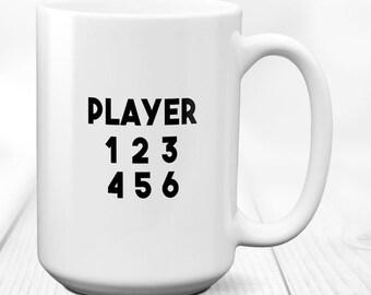 Gamer mug,video game mug,gaming mug,gamer gift,coffee mug,gamer gifts,nerd mug,geek mug,gamer,funny gamer mug,Player 1 2 3 4 5 6, 15 fl.oz