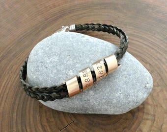Personalized Bracelet, Gold And Leather, Men's Bracelet, Custom, Hand Stamped Bracelet, Personalized, Woman's Bracelet - Shane Bracelet