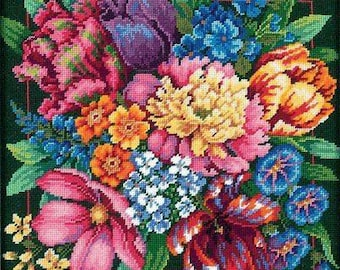 "Dimensions ""Floral Splendor"" 14"" Needlepoint Wall Art or Pillow"