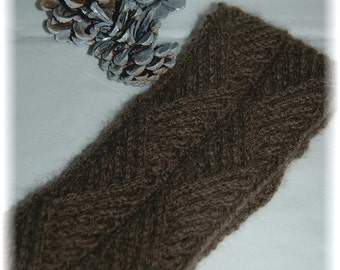 """Qiviut (Muskox) Headband / Earwarmer for Men or Women """"Hernando Island"""" - hand knit in cable pattern, MADE TO ORDER"""