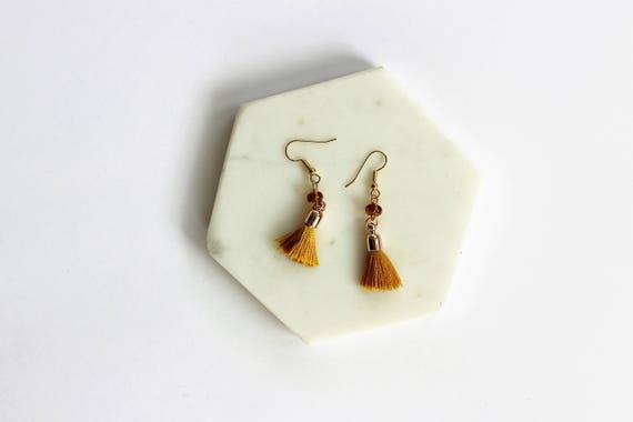 Amber Glass & Tassel Earrings