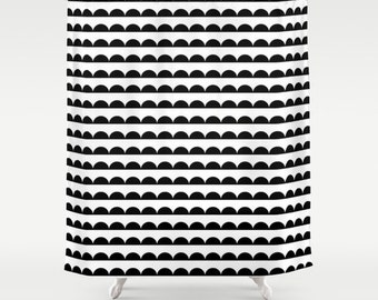Scallop Shower Curtain, Black and White, Modern Shower Curtain, Bathroom Decor, Standard or Extra Long Shower Curtain, Housewarming Gifts
