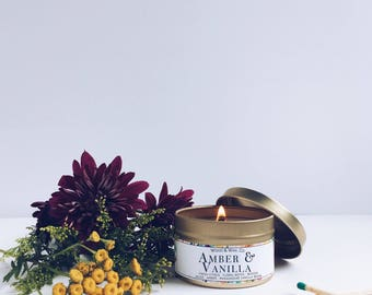 AMBER & VANILLA Soy Candle | Candle Tin | Travel Candle