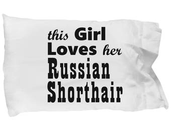Russian Shorthair - Pillow Case, Crazy Cat Lady Gift, Cat Lover Gifts For Women, Cat Gifts For Women, Cat Pillow Case, Gift For Her
