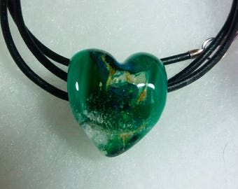 PET MEMORIAL ASHES  Glass Heart Necklace Memorial . Pets ashes/fur **Grief--Loss  Keepsake Glass --  Pet Cremation Jewelry by Trina Rindy