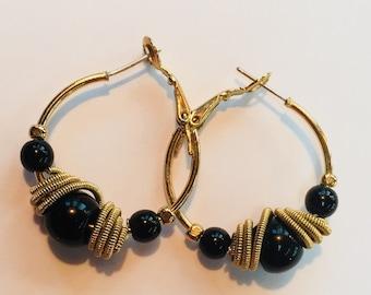Vintage black and gold tone earrings, jet black bead hoop earrings, gold told rope wrapped beaded hoop