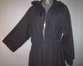Hooded Parka, Duster, Lightweight Cotton, Drawstring Waist/Collar, Long Slit in Back With Buttons for Weight, Pocket Access Slits...one size