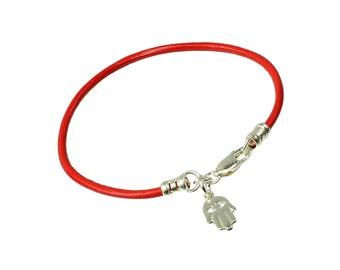 Leather Kabbalah Bracelet with Sterling Silver Hamsa Charm