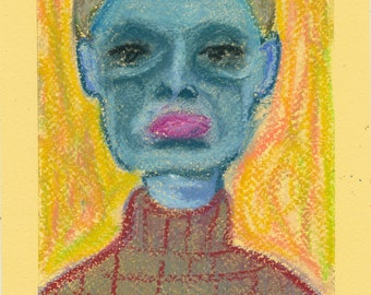 Abstract blue face girl