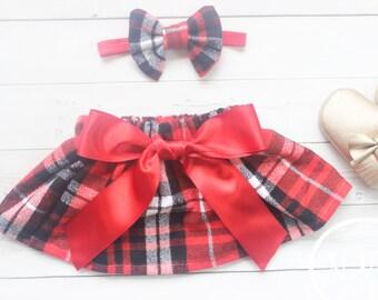 Baby Girl Christmas Skirt, Baby Girl Christmas Outfit, Toddler Christmas, Christmas Headband, My First Christmas, Baby Girl