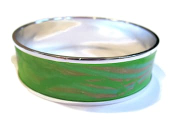Bangle Bracelet, Cuff Bracelet, Apple Green with Golden Accent // gifts for her