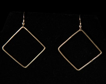Hammered Silver Large Diamond Earrings