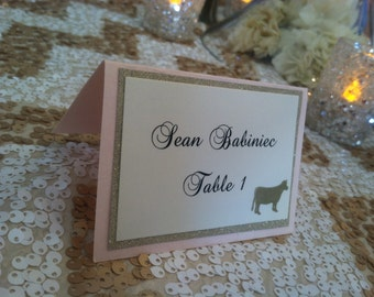 Customizable 3 layer place cards. A classy way to lead guests to their table. The animal meal stamp adds a touch of fun. Sold in 25/qty.