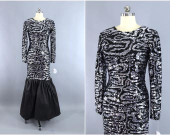 Vintage Sequined Dress / Evening Gown / Maxi Dress / Body Con / Camo Camouflage / Black & Silver / Mermaid Fishtail Dress