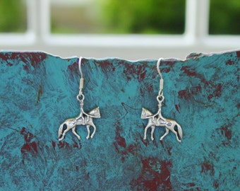 Dressage Horse and Rider Earring Sterling Silver Equestrian Gifts Horse Jewelry Equestrian Earring