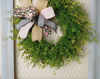 Rustic Farmhouse Boxwood Wreath Grapevine Everyday Wreath Mother's Day Wreath Spring Summer Green Door Decor