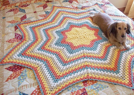Granny Star An Eight Point Round Ripple Afghan Crochet Pattern