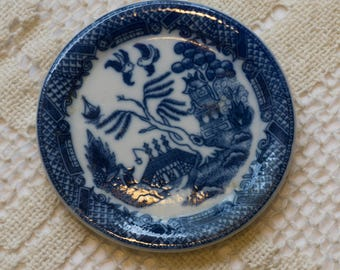 Vintage Blue Willow Transferware Coaster Tea Rest Made in Japan