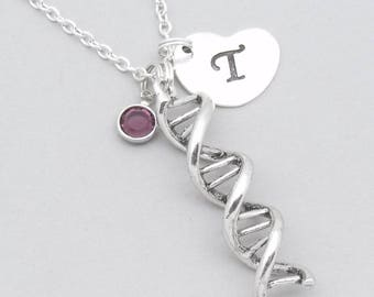 DNA science necklace with heart initial | personalised DNA jewellery | DNA gift | science genetics gift | birthstone