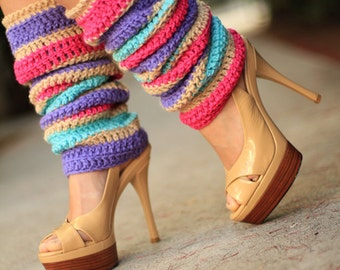 Fashion Leg Warmers in Colorful Flower Blossom Stripes by Mademoiselle Mermaid
