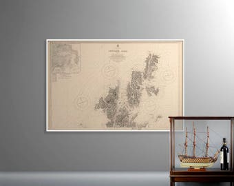 Shetland Isles [North]   Antique Sea Chart Print - Northmaven, Yell, Fetlar, Unst, Delting   Historical Map of Shetland