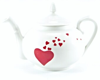 Vintage 1970's Pillivuyt No. 35 Classic White French Fine Porcelain Teapot with OOAK Maroon Love Heart Motif (3.8 cup capacity)