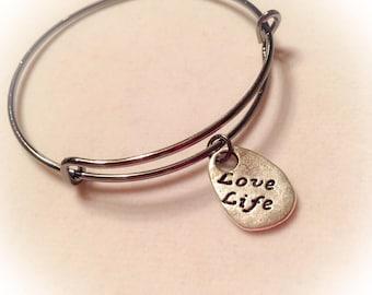 Love life, love life bangle, love life jewelry, live, life, love life bracelet, inspirational jewelry, inspirational bangle, inspiring gifts