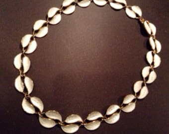 Vintage 1950's David Andersen sterling silver and white guilloche enamel leaf neckless, made in Norway