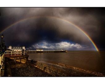A rainbow over Penarth Pier