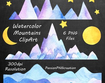 Watercolor Mountains Clipart, PNG, hand painted, Watercolour Mountain clip art,  mountain graphics, For Personal and Commercial Use