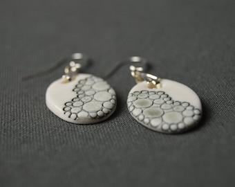"""Amsterdam 2018"" earrings, porcelain, ceramic jewelry, 925 sterling silver"