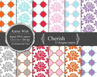 Cherish digital paper kit 300 dpi 12x12 jpg Instant Download files CU