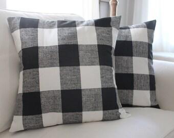 Black Buffalo Check Pillow Covers, Plaid Pillows, Check Pillow, Couch Pillow, Throw Pillow, Farmhouse Pillow, Pillow Sham, Gingham All Sizes